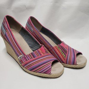 Toms Open Toe Wedge Pumps Calypso Pink Stripe 9.5